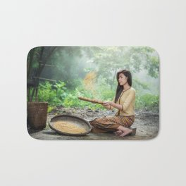 Asian Woman Sowing Rice Bath Mat