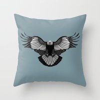 eagle Throw Pillows featuring Eagle by Schwebewesen • Romina Lutz