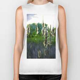 Scraggly Cat-Tails at Sunset Biker Tank