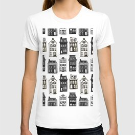 Mansard Mansions in Black + White Watercolor T-shirt