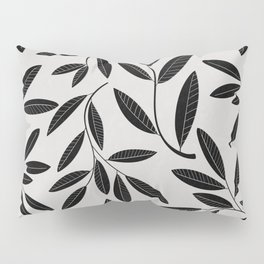 Black and White Plant Leaves Pattern Pillow Sham