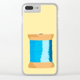 Blue Spool Of Thread Clear iPhone Case