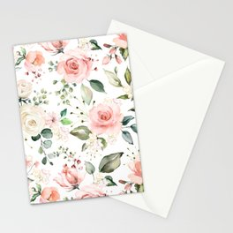 Sunny Floral Pastel Pink Watercolor Flower Pattern Stationery Cards
