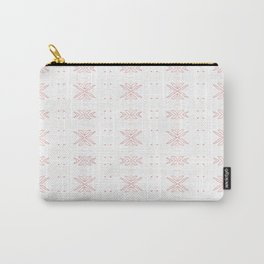Geometrical abstract living coral  white floral Carry-All Pouch
