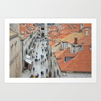 Bustle of Dubrovnik Art Print