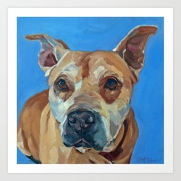 Happy the Bully Dog Portrait Art Print