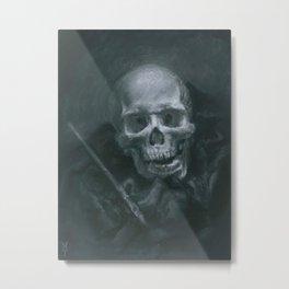 Skull with Paint Brush Metal Print