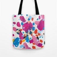 physics Tote Bags featuring Fuchsia Physics by Emily Rickard