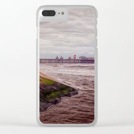 Blackpool seafront - winter storm Clear iPhone Case