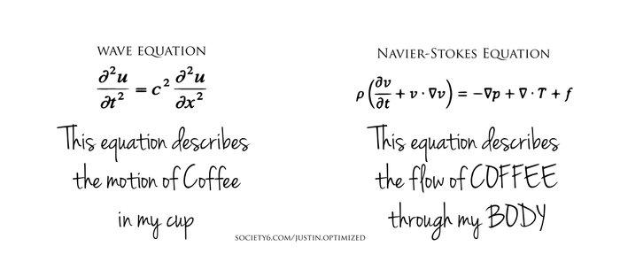 Wave Equation and Navier-Stokes Equation Coffee Mug Coffee Mug