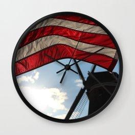 Flag over Windmill Wall Clock
