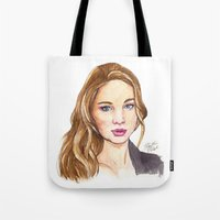 law Tote Bags featuring J-Law by Kaitlin Polak