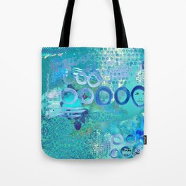 Blue Heaven Abstract Art Collage Tote Bag
