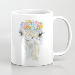 Ostrich Floral Watercolor Painting Nursery Art Coffee Mug