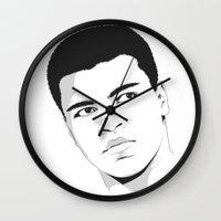 ali gulec Wall Clocks featuring Ali II by Renan Lacerda