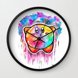 Cute Galaxy KIRBY - Watercolor Painting - Nintendo Wall Clock