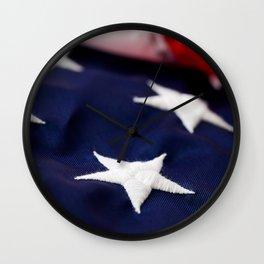 Focus On American Flag Star Wall Clock