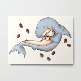 Coffee Shark Metal Print