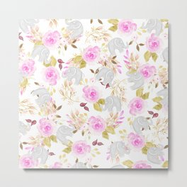 Modern pink gray watercolor hand painted floral elephant Metal Print