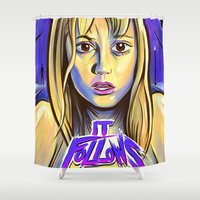 movie poster Shower Curtains featuring It Follows Movie Poster by IBTrav Pop Shop