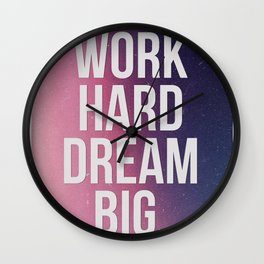 Work Hard Dream Big - Ombre - Inspirational Quote Wall Clock