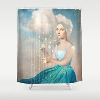 rain Shower Curtains featuring Melody of Rain by Christian Schloe