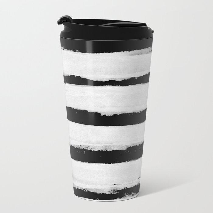 BW Stripes Metal Travel Mug