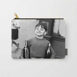Little Boy and Bottles of Wine, Black and White Vintage Art Carry-All Pouch