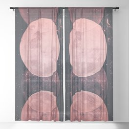 Pink Moon Phases Sheer Curtain