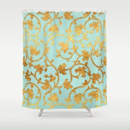 Golden Damask pattern Shower Curtain