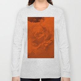 Bloomed Rose Warm Orange Long Sleeve T-shirt