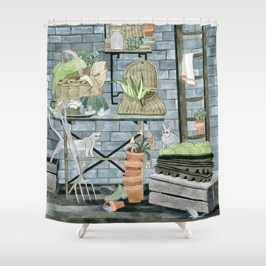Garden Theme Shower Curtain By Yuliya