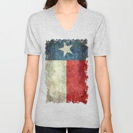 Texas flag, Grungy Vertical Banner Unisex V-Neck