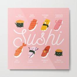 Sushi Kawaii Pink Metal Print
