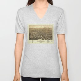 Bird's Eye View of Laconia, New Hampshire (1883) Unisex V-Neck