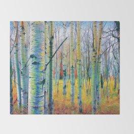 Aspen Trees in the Fall Throw Blanket