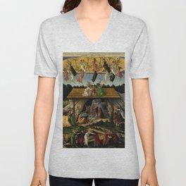 """Sandro Botticelli """"The Mystical Nativity"""" Unisex V-Neck"""