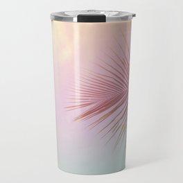 Pink Palm Leaf Poster Travel Mug