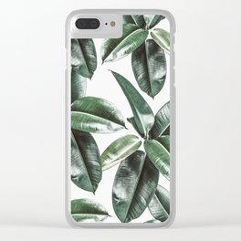 Tropical Leaves Pattern | Dark Green Leaves Photography Clear iPhone Case