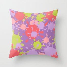 Paint Splatter-Purple+Pink+Green Throw Pillow