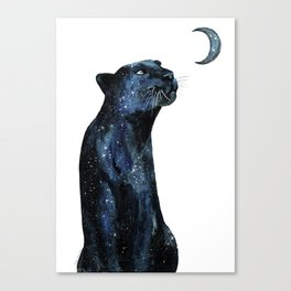 Original The Moon Is Calling Jaguar on white, galaxy stars animal illustration Canvas Print