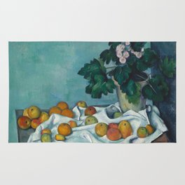 Paul Cézanne - Still Life with Apples and a Pot of Primroses (1890) Rug