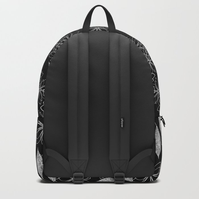 Abstract floral black and white pattern. Backpack