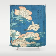 Japanese Flowers Turquoise Peach Shower Curtain