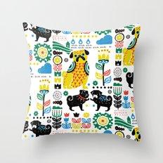 Scandinavian Pugs Throw Pillow