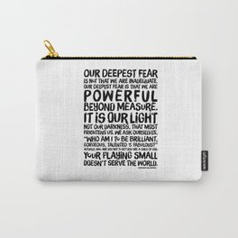 Inspirational Print. Powerful Beyond Measure. Marianne Williamson, Nelson Mandela quote. Carry-All Pouch