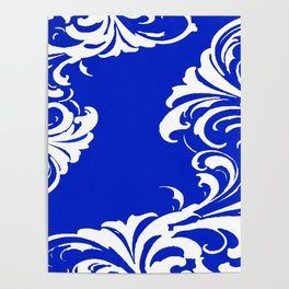Damask Blue and White Poster