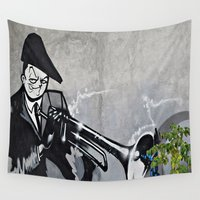 trumpet Wall Tapestries featuring The Trumpet Player  by Ethna Gillespie
