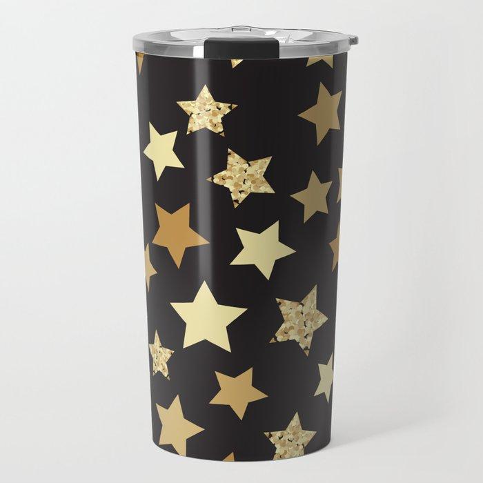 Golden Stars on Black Background Pattern Travel Mug