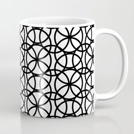 Circle Heaven Black and White, Overlapping Ring Pattern Illustration Coffee Mug